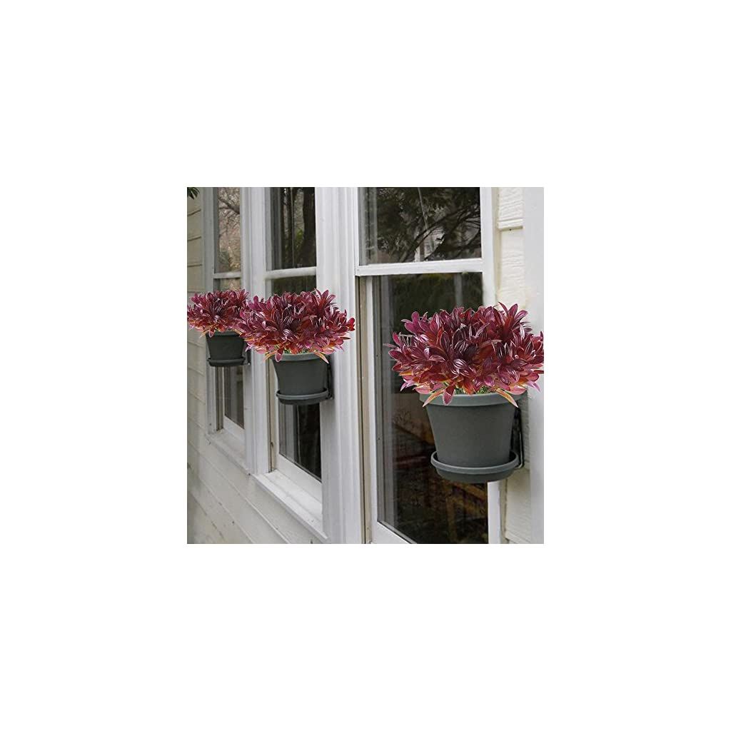 GTIDEA 4pcs Fake Plants Artificial Greenery Shrubs Plastic Red Bushes House Office Garden Patio Yard Indoor Outdoor Decor