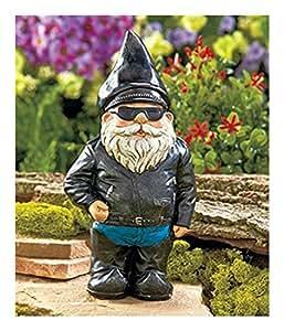 Biker Garden Gnome - Estatua de arte divertido para decoración de patio o patio