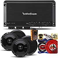 Rockford Fosgate R300X4 Prime 400W 4-CH Amplifier + (4) P1650 6.5-Inch 2 Way Speaker + Amp Kit