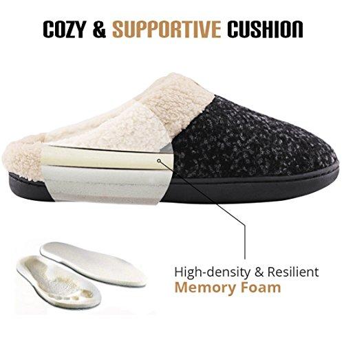 Space Fleece House Slippers Men's Like Wool Comfort Black Shoes Plush Lined Foam Memory AqqFfwP