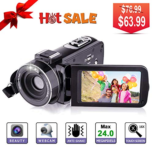 Video Camera HD Video Camcorder – Upgraded Version 1080P Camcorder Full HD Digital Video Camera, 3.0 Inch LCD 270 Degree Rotatable Screen 16X Digital Zoom YouTube Video Camera