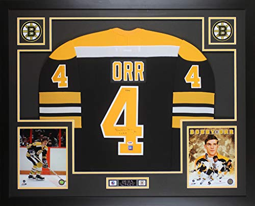 Bobby Orr Signed Jersey - Bobby Orr Autographed Black Bruins Jersey - Beautifully Matted and Framed - Hand Signed By Bobby Orr and Certified Authentic by Auto PSA and GNR COA - Includes Certificate of Authenticity
