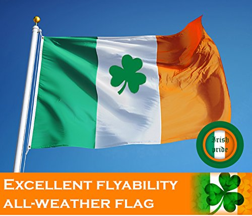 G128 - Irish Flag (Shamrock) | 3x5 feet | Printed - Vibrant Colors, Brass Grommets, Quality Polyester, Ireland