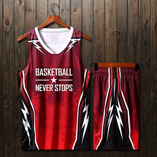 rouge 2XL(170-175) CTAO Maillot De Basket-Ball pour Homme Décontracté à Manches Courtes T-Shirt De Sport Haut + courtes Costumes Mis Costumes De Basket Jersey Costumes D'entraîneHommest rouge-4XL(180-185)