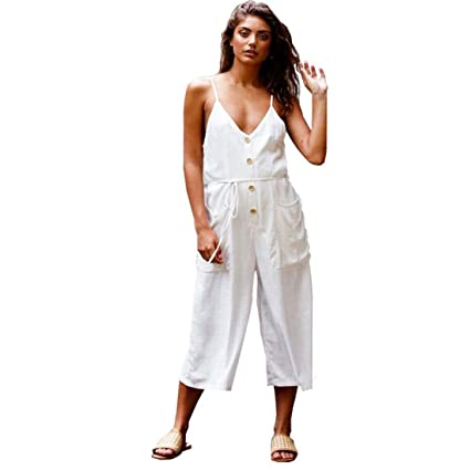 1ff9e4d7f77f Image Unavailable. Image not available for. Color  Makaor Fashion Women  Strappy V Neck Backless Strap Cotton Linen Playsuit Party Jumpsuit (White