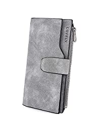 UTO RFID Wallet for Women PU Matte Leather Wallet Card Zipper Phone Holder Organizer Girls Coin Purse