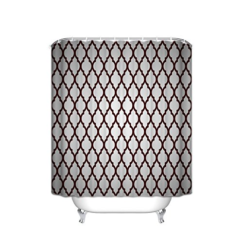 (ATOLY The Strongest Mildew Shower Curtain On The Market - 100% Waterproof-Personalized Custom Dark Red Lattice Cross Quatrefoil Pattern Design Bath Decor Shower Curtain,72X72Inch)