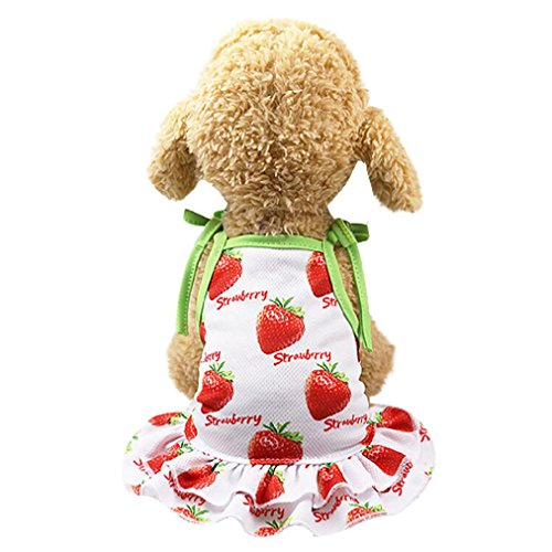 OOEOO Pet Shirt Couple Dress Puppy Dog Princess Doggie Apparel Costume Clothing (Strawberry Dress, XS)