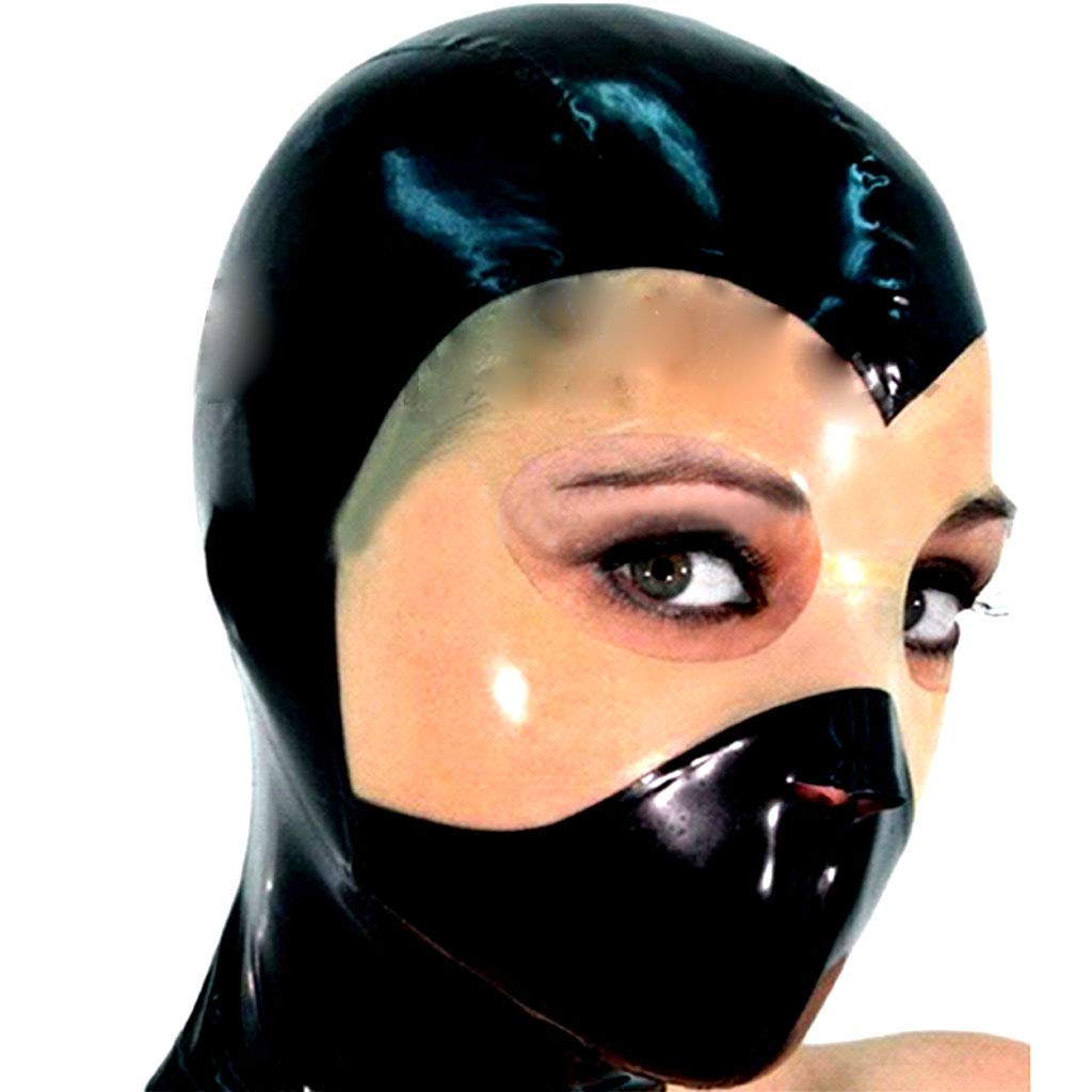 TINGSHOP Natural Latex Mask, with The Opening of The Eyes and Nose SM Fetish Complete Binding Mask Cosplay Unisex Halloween Headgear,Black,XXL by TINGSHOP