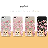 iPhone 8 Girls Case,iPhone 7 Women Case,Cute Corgi in The Pink Blooms Flowers Floral Spring Love Funny Puppy Dog Chic Trendy Simple Rose Daisy Spring Compatible Clear Soft Case for iPhone 8/iPhone 7