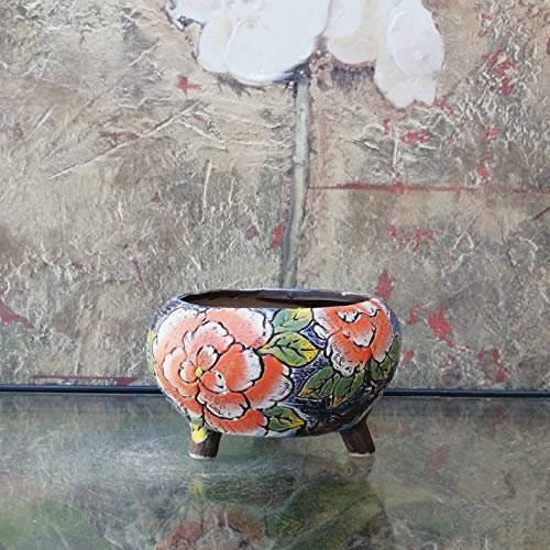 Hand Carved & Painted Ceramic Plant Pot with Drainage   Flower Vase Home Decor   Succulent Cactus Herb Planter 2