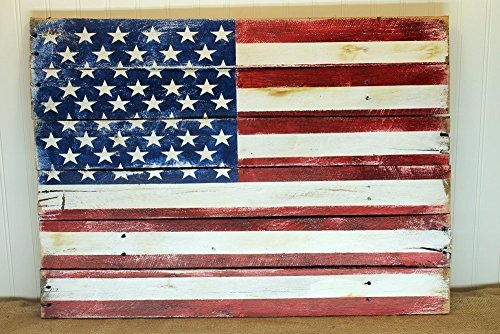 American Flag Wall Art Sign from Reclaimed Pallet Wood, Red White and Blue Painted Americana Design 24x14 or larger