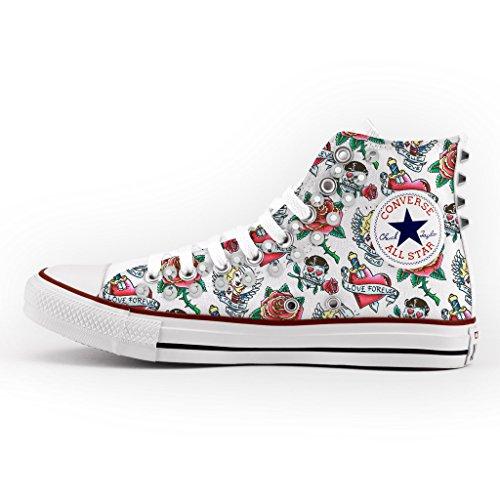 Converse Personalizzate con borchie argento All Star Alta - scarpe artigianali - cuore amore