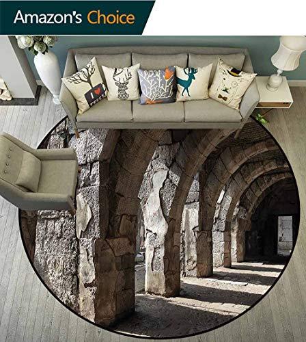(RUGSMAT Ancient Round Area Rug Carpet,Dark Shadows Stone Portico Non-Skid Bath Mat Living Room/Bedroom Carpet Round-71)