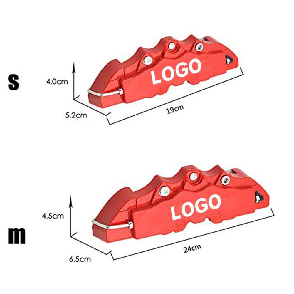 MOCRIS 4 PCS De Voiture Disque De Frein /Étrier Couverture 3D Word Rouge Couverture De Frein Fit pour 14-18 Pouces De Voiture 2 M et 2 S Kit Universel pour Brembo
