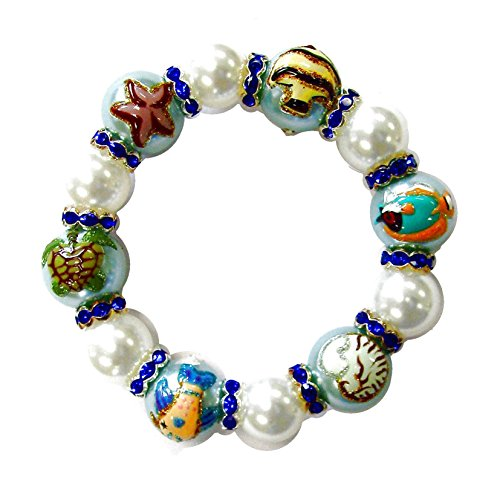 Stretch Bracelet Box - Linpeng Fiona 3D Hand Painted Glitter Sea Creatures Glass Pearl Beads with Rhinestones Spacers Stretch Bracelet in Box_BR-1231