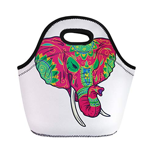 Semtomn Neoprene Lunch Tote Bag Thailand Colorful Sugar Elephant Head Tattoo Celebration Circus Classic Reusable Cooler Bags Insulated Thermal Picnic Handbag for Travel,School,Outdoors, -