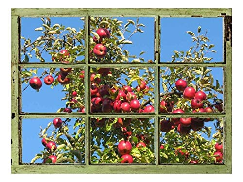 Window View Wall Mural - Apple Tree Against Clear Blue Sky - Vintage Style Wall Decor - Peel and Stick Adhesive Vinyl Material - 24x32 ()