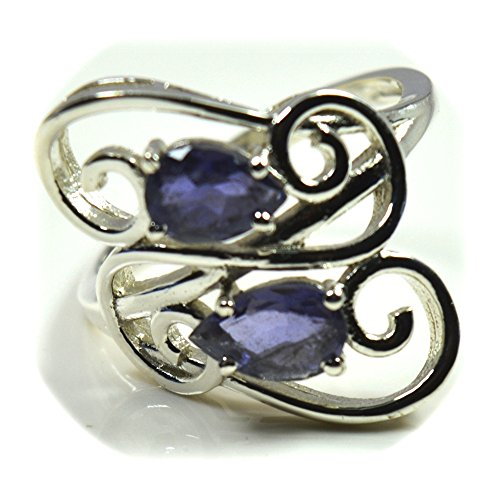 55Carat Natural Blue Iolite Ring Sterling Silver for Women Astrology Jewelry Handmade Size ()