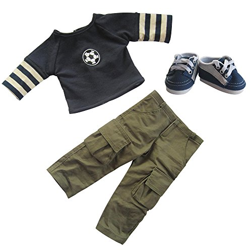 Doll Clothes Casual Outfits Long Sleeve Football T-shirt Tops Pants Trousers and SportsShoes Fits 18