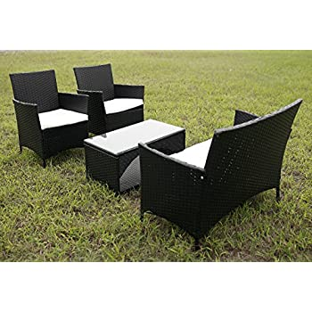 merax 4 piece outdoor patio pe rattan wicker garden lawn sofa seat patio rattan furniture sets - Rattan Garden Furniture 4 Seater