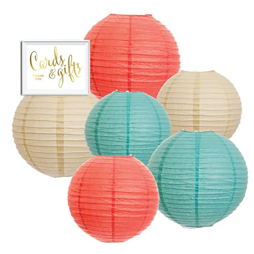 Andaz Press Hanging Paper Lantern Party Decor Trio Kit with Free Party Sign, Ivory, Coral, Diamond Blue, 6-Pack, For Peach Mint Robin's Egg Baby Bridal Shower Easter Classroom Decorations ()