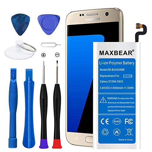 3000mah Li Polymer Battery - Galaxy S7 Battery,Upgraded MAXBEAR 3000mAh Li-Polymer Battery EB-BG930ABE Replacement for Samsung Galaxy S7 SM-G930 G930V G930A G930T G930P G930F with Screwdriver Tool.[12 Month Warranty]