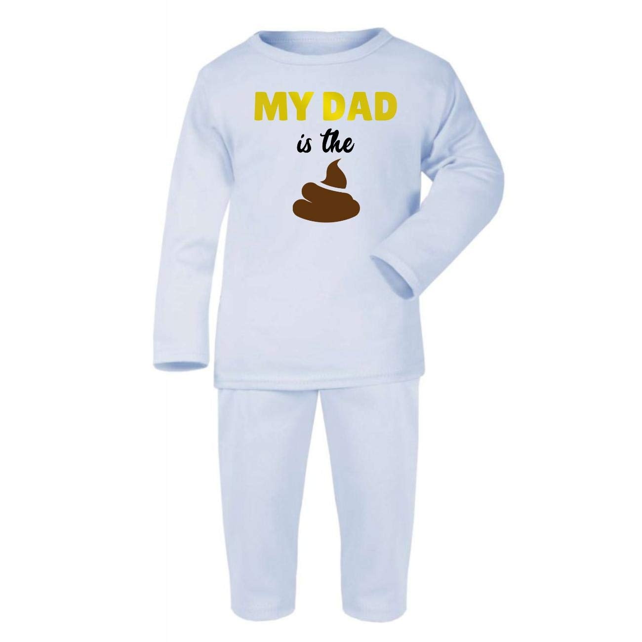 My dad is The Shit Cotton Baby PJ Pajama Set Long Sleeve Pastel Pink Fathers Day 2019 - 3-6 Months Gold Metallic