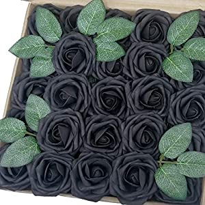 J-Rijzen Jing-Rise Artificial Roses 50pcs Real Touch Black Foam Flowers with Stem for Bridal Shower Wedding Bouquet Baby Shower Floral Home Decorations (Black) 19