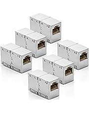 deleyCON CAT6 RJ45 Kopplingskontakt Nätverkskabel Patchkabel Ethernetkabel Adapter Modulär Skärmad 2x RJ45 Uttag DSL LAN RJ45 6 Styck