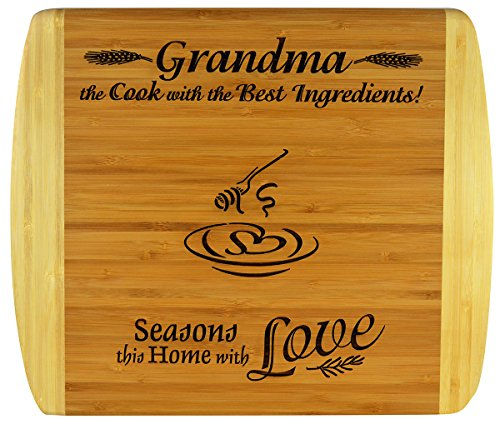 GRANDMA Engraved 2-Tone Bamboo Cutting Board ~ 2-Sided Design Engraved Side Designed For Décor Reverse Side For Usage Grandma Birthday Mothers Day Christmas Gift Best Grandma Ever (11 1/2 x 13 1/2)
