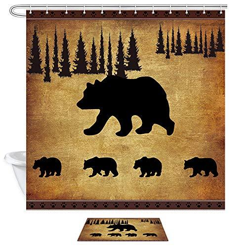 JAWO Black Bear Shower Curtain and Bath Mat Set, Rustic Cabin Bears Animal Shower Curtains Fabric 69X70 Inch, Bathroom Accessories Hooks Rug Sets (Bath Mat Cabin)