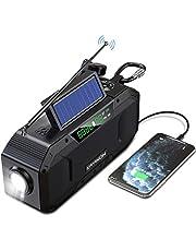 Hand Crank Emergency NOAA Weather Radio - w/Bluetooth Speaker, 5000mAh Power Bank, AM FM Solar Radio Portable, IPX5 Waterproof Radio for Home Camping, SOS Alert, USB Cell Phone Charger, Flashlight (Black)