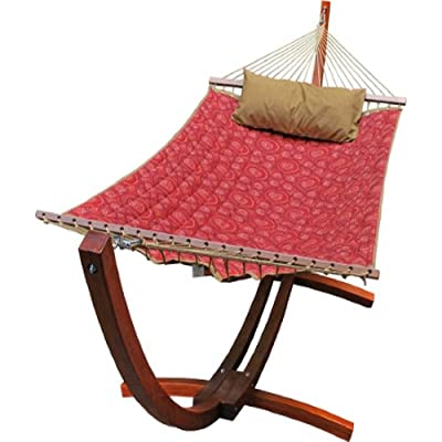 Algoma 6710159SP Wooden Arc Frame Hammock and Pillow Combo, 12-Feet, Red Pattern Fabric - Quilted polyester fabric with matching pillow Outdoor plated hardware and poly rope clewed ends Hardwood spreader bars - patio-furniture, patio, hammocks - 515wV0U6VWL. SS400  -