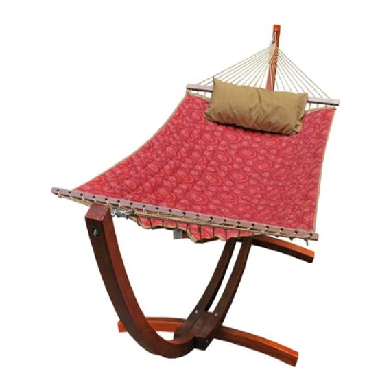 Algoma 6710159SP Wooden Arc Frame Hammock and Pillow Combo, 12-Feet, Red Pattern Fabric - Quilted polyester fabric with matching pillow Outdoor plated hardware and poly rope clewed ends Hardwood spreader bars - patio-furniture, patio, hammocks - 515wV0U6VWL. SS570  -