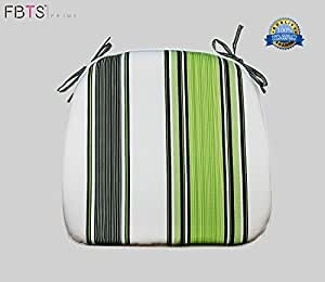 Chair Cushion 16 x 17 Inches Indoor/Outdoor Seat Pads Square (Set of 2, Green, Stripe) for Outdoor Patio Furniture Garden Home Office by FBTS Prime