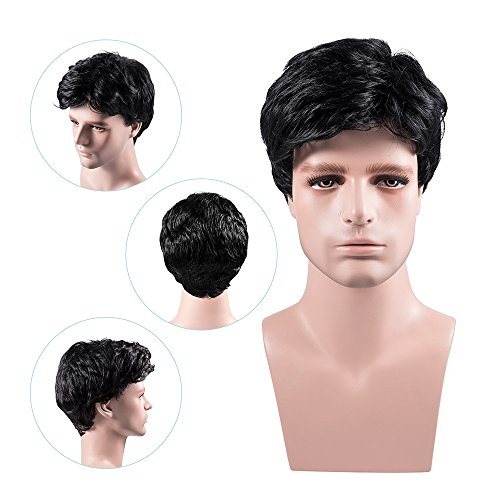 MelodySusie Men's Wig Black Natural Looking Short Wigs with Wig Cap – For Daily Wear and Formal Occasion -