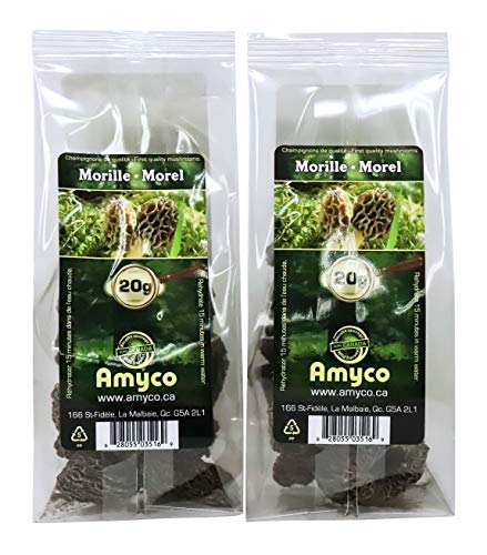 Amyco- Dried Morel Mushrooms, Dehydrated Canadian Wild Harvested 2 Pack