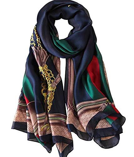 FM Womens Mulberry Silk Scarves Long Satin Lightweight Scarf For Women, A-navy, Medium