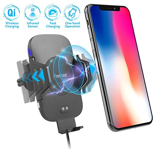 Wireless Charging Car Mount, Insten Quick Charge Fast Charger Wireless Air Vent Phone Holder w/Automatic Open Smart Sensor for Qi Smartphones iPhone X/8/8 Plus/Samsung Galaxy S9/S9+/S8+ LG G6/V30