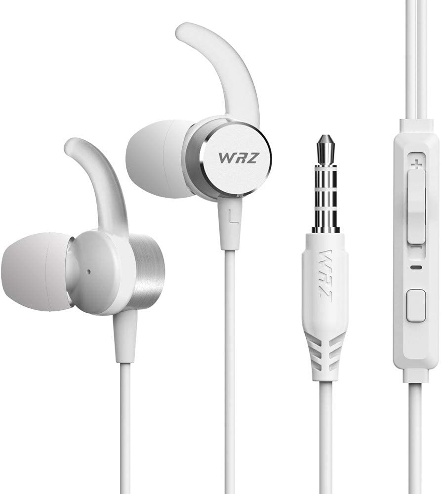 WRZ M7 Earbuds in Ear Headphones Wired Earphones Noise Isolating Bass Stereo Sweatproof Headsets with Microphone Volume Button Control for iOS Android Cellphone Laptop Tablet PC Computer- White