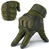 JIUSY Army Military Tactical Touch Screen Rubber Hard Knuckle Full Finger Gloves for Combat Motorcycle Motorbike Hunting Hiking Airsoft Paintball Riding Size Green Large