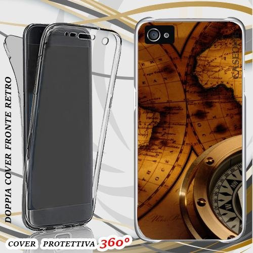 CUSTODIA COVER CASE MAP VINTAGE PER IPHONE 5 FRONT BACK
