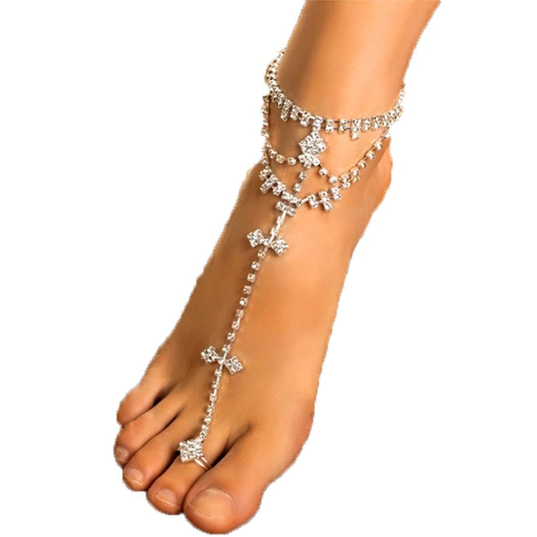 Meflying Fashion Women Anklets Women Foot Chain Rhinestone Barefoot Wedding Bride Anklets with Toe Ring (One Piece)