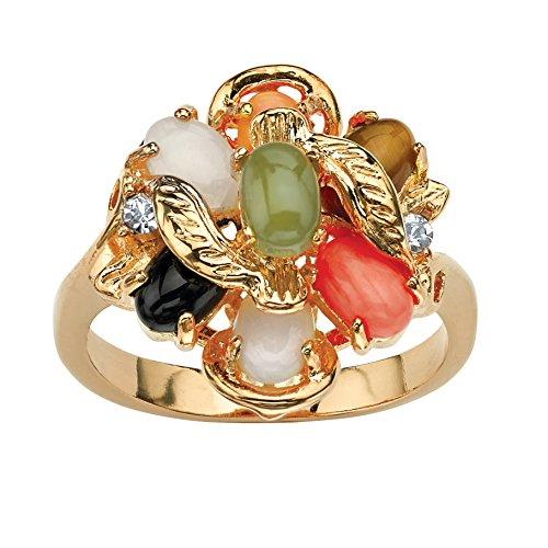 Palm Beach Jewelry 18K Yellow Gold Plated Oval Shaped Genuine Green Jade, Tiger's Eye, Coral, Onyx and Opal Ring Size -