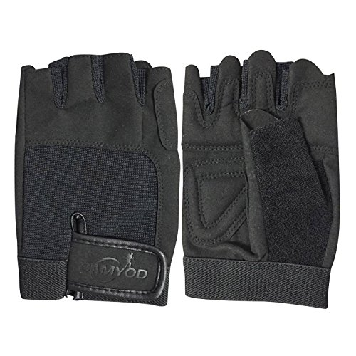 CAMYOD Fingerless Bike Gloves, Shock-Absorbing Half Finger Cycling Gloves, Mountain Bike Gloves with Anti-Slippery Palm Patch for Men and Women (Black, L)