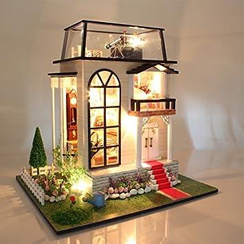 Hoomeda 13837 DIY Dollhouse Miniature Model With Light Music Motor Doll House & Amazon.com: Hoomeda 13837 DIY Dollhouse Miniature Model With Light ...