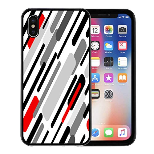 (Semtomn Phone Case for Apple iPhone Xs case,Gray Blank Diagonal Stripes Abstract 1950S 1960S Motifs Retro Collection Black Red Grey White Chaotic for iPhone X Case,Rubber Border Protective Case,Black)