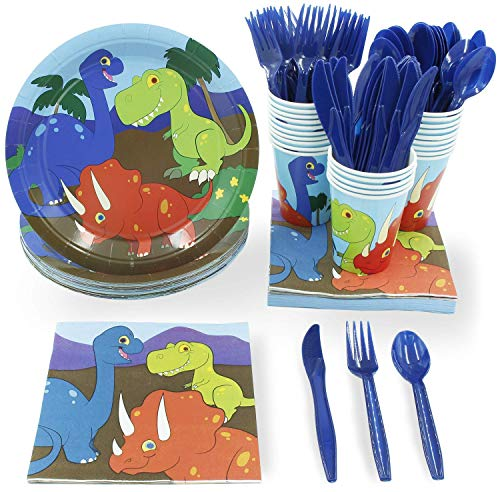 Juvale Dinosaur Disposable Party Supplies Set - Serves 48, Fun Dino Themed Birthday Paper Plates, Napkins, Plastic Utensils, and Cups -