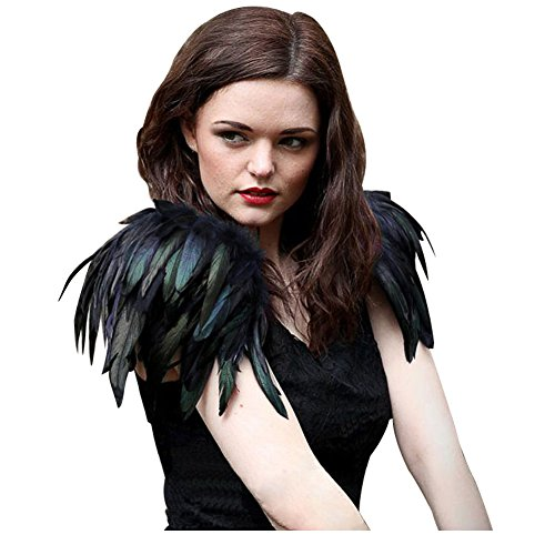 L'vow Natural Real Feather Epaulet Shrug Shoulder Strap Halloween Costumes Pack of 2 (Black)
